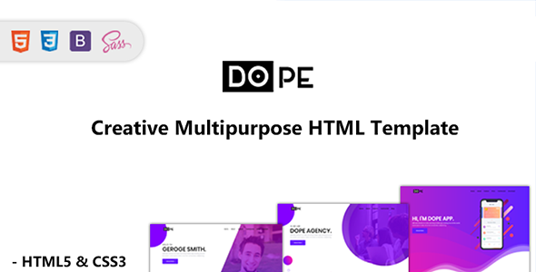 Dope – Free Multipurpose Bootstrap 4 Template